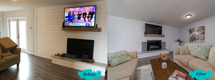 Home Staging for Living Room at  Naples Ave. house in Panama City Beach, Florida by Coastal Staged Designs